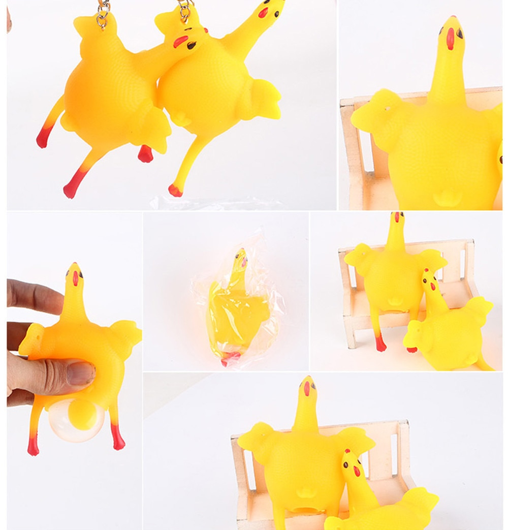 Funny Tricky Chicken Parody Toy Ventilation Hens Eggs Stress Keyring Ball Gadgets Stress Relief Toys Dog Toys #