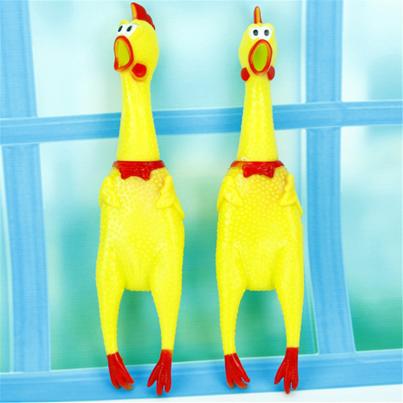 Funny dog gadgets novelty Yellow Rubber Chicken Pet Dog Toy Novelty Squawking Screaming Shrilling chicken for Cat Pet