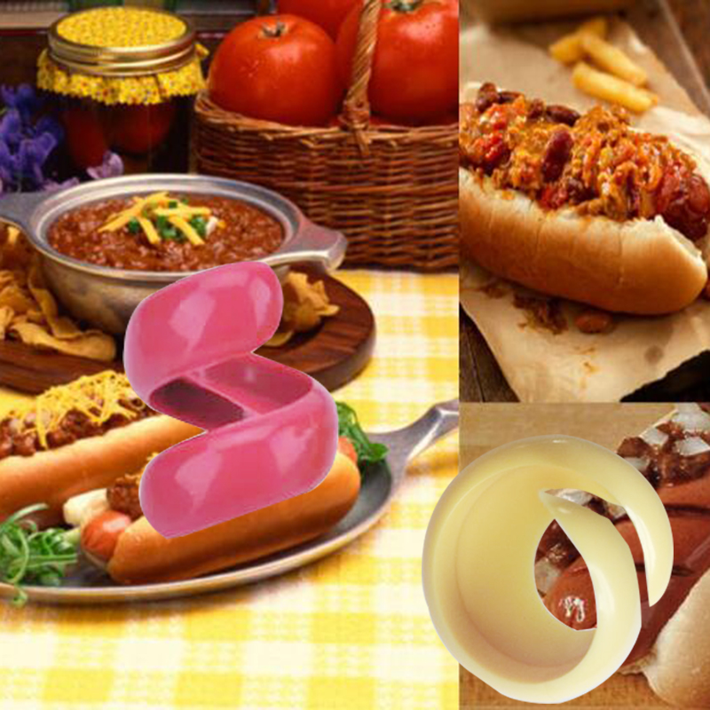 2PCs Manual Fancy Sausage Cutter Spiral Barbecue Hot Dogs Cutter Slicer kitchen Cutting Auxiliary Gadget Fruit Vegetable Tools11